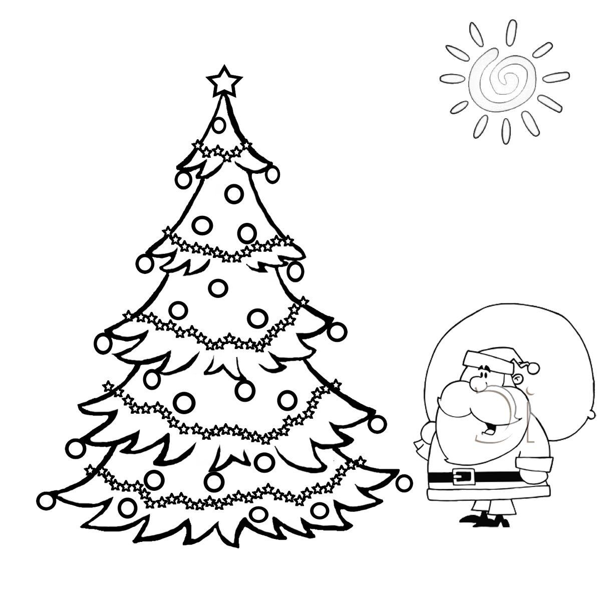 Santa And Big Christmas Tree Coloring Page