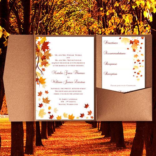 "Pocket Fold Wedding Invitations ""Falling Leaves"" Fall"