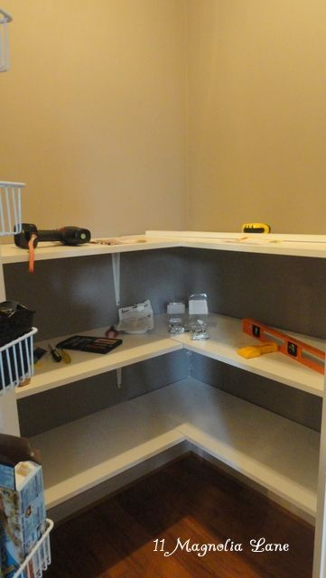 Corner Pantry Redo With Solid Shelving From Shelving