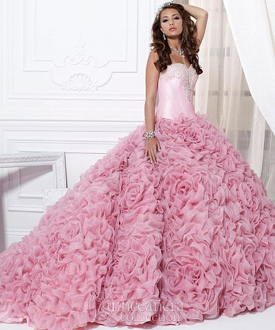 27a0a97346c Quinceanera by House of Wu Ruffle Rose Ball Gown 26702 at frenchnovelty.com