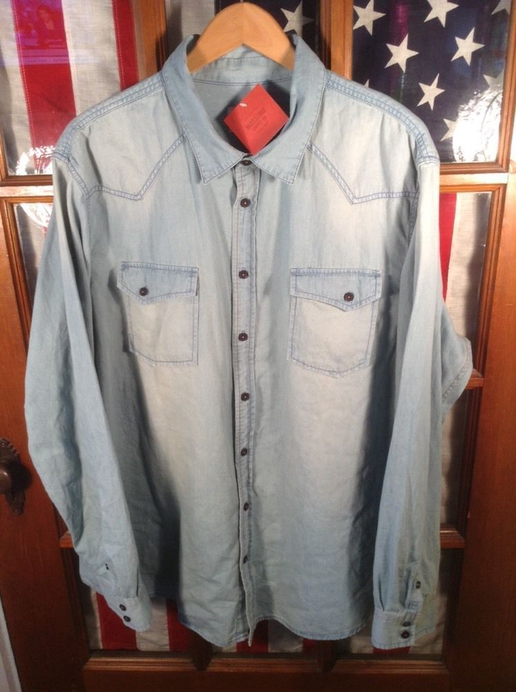 XXL / MENS / Mossimo Button Down Denim Shirt Men's Light Blue NWT ...