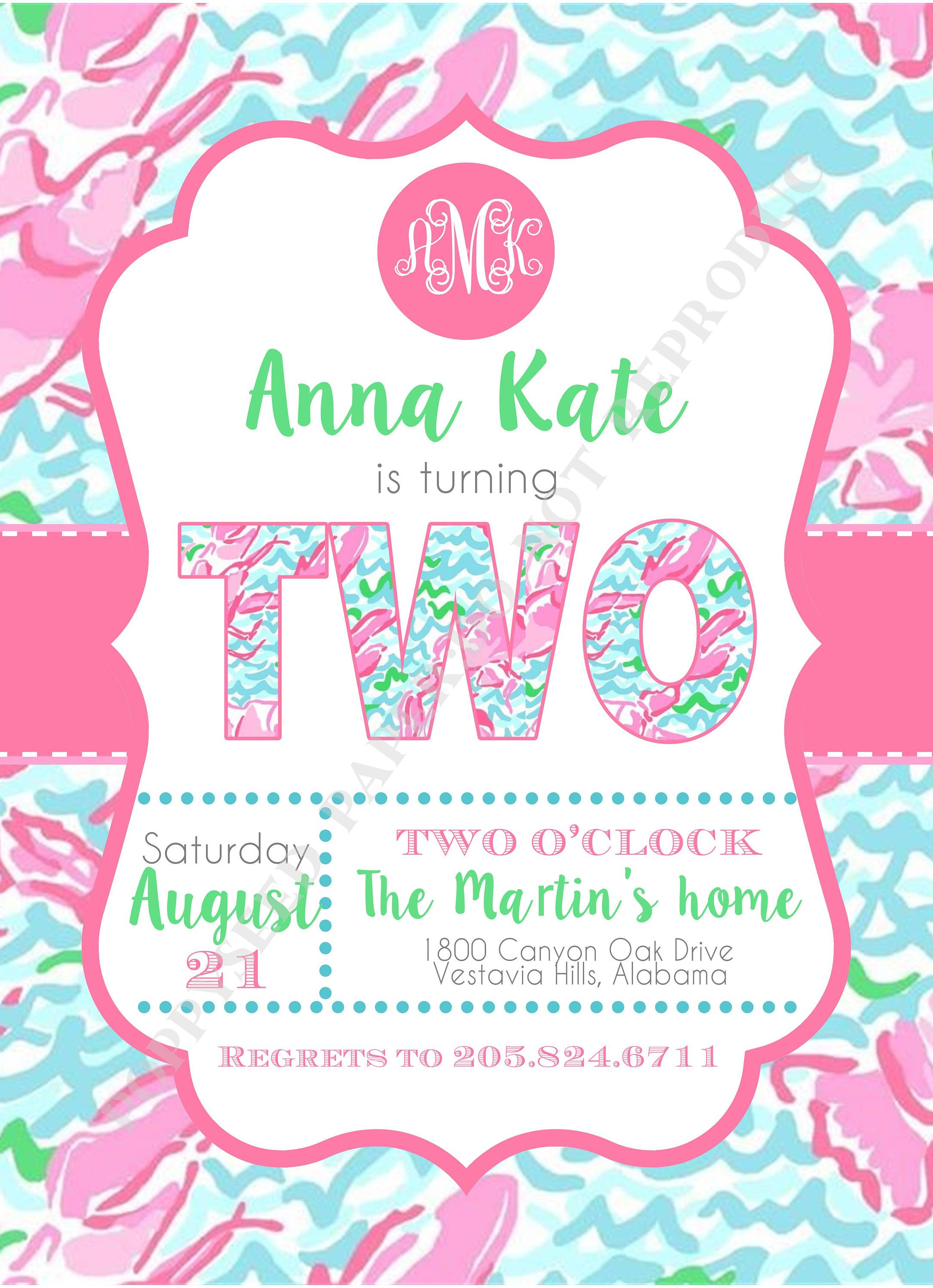 Lilly Pulitzer Birthday Invitation Personalized Digital File or