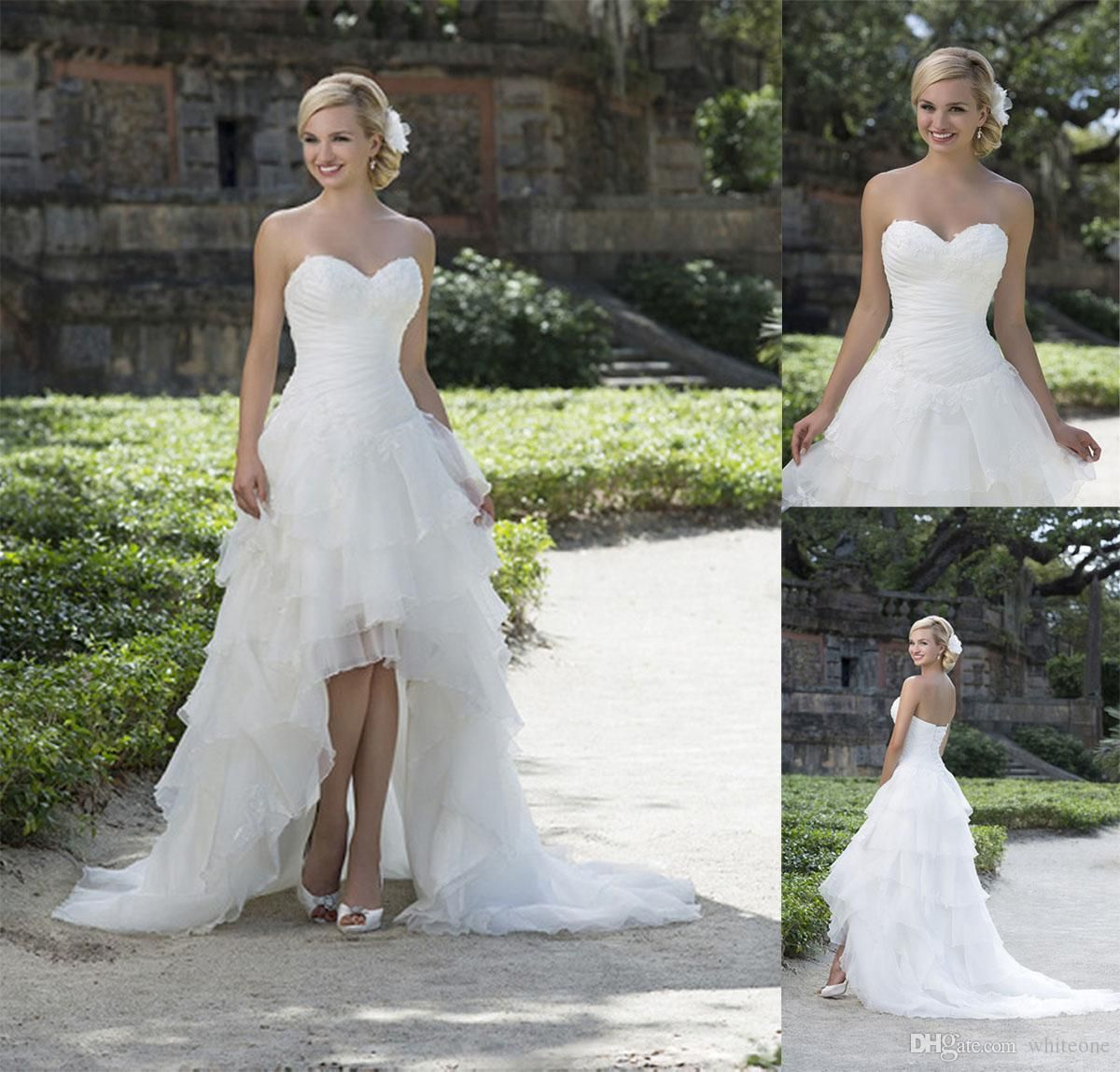 Summer country high low wedding dresses a line with sweetheart