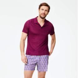 Herren Ready to Wear - Solid Polohemd aus Leinenjersey für Herren - Polohemd - Pyramid - Violett - X