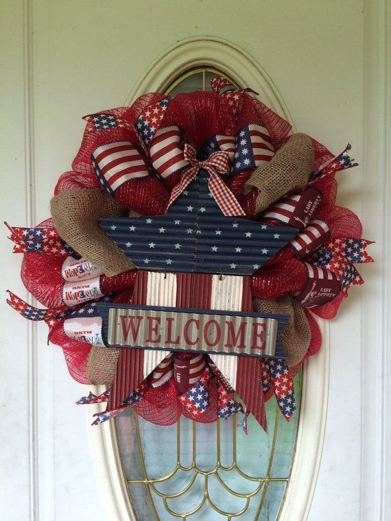Psyrootic Americana wreath by ThatTexasBling on Etsy