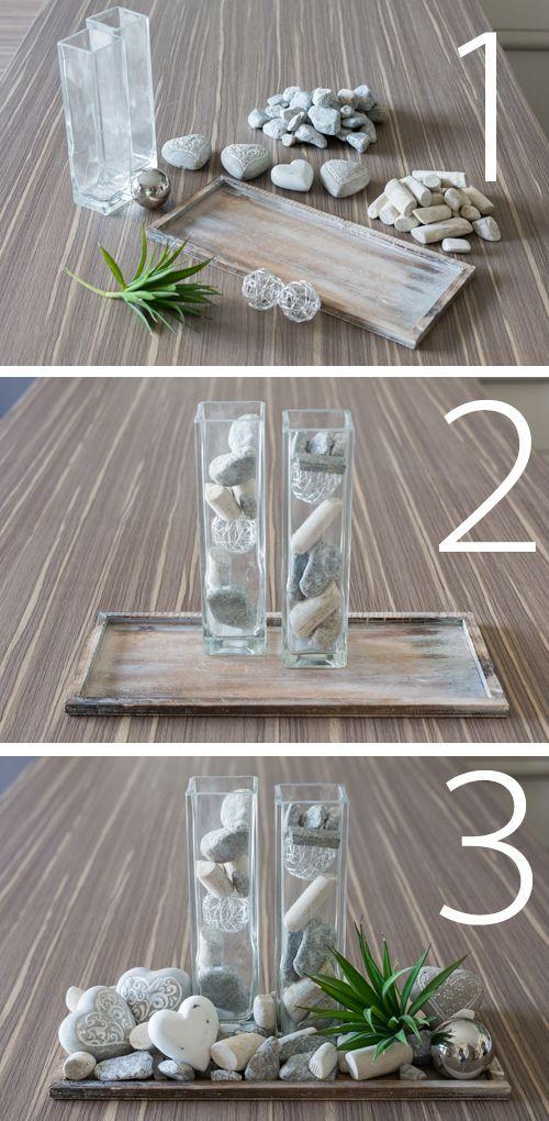Photo of Bare tre trinn og denne dekorasjonen fra middelhavs DIY med steiner, Teibholz & S …, #deko # … er ferdig.