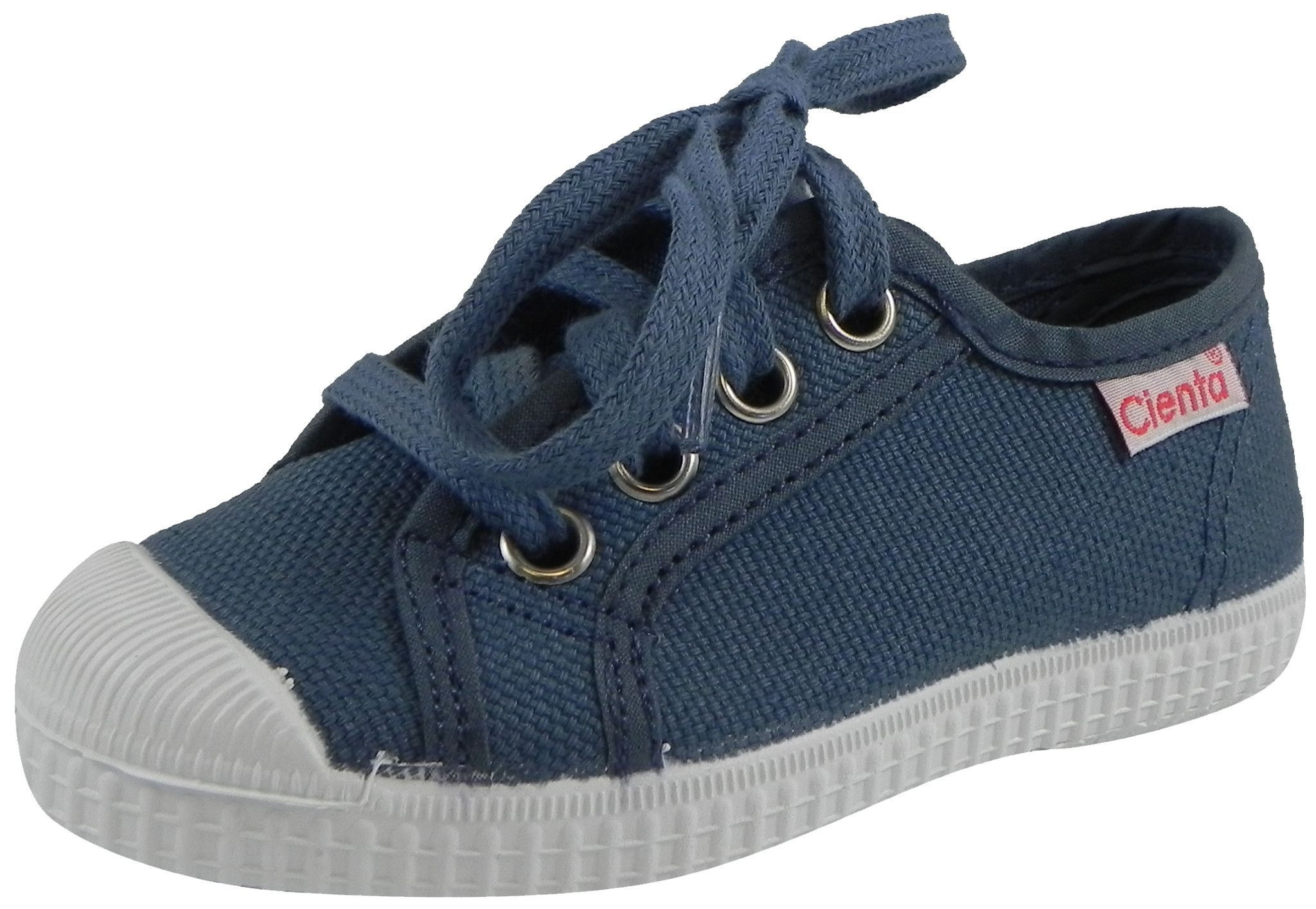 Cienta 74020 Boy's and Girl's Lavender Blue Lace Up Textured Canvas Sneakers