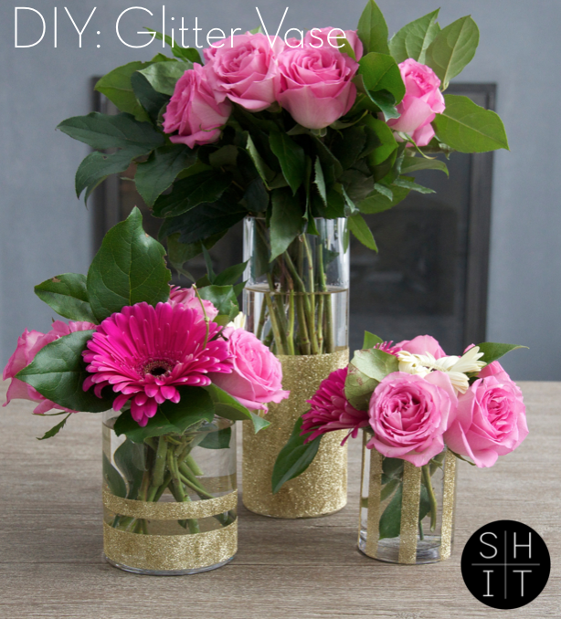 Diy Gold Glitter Vase Learn How To Make This In 5 Minutes Gold