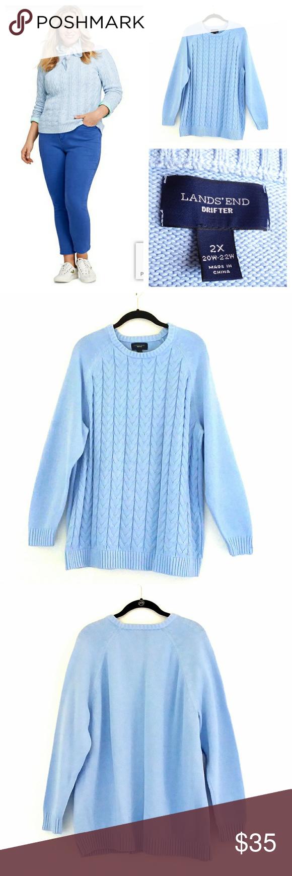 Nwot Lands End Drifter 100 Cotton Sweater 2x Cotton Sweater Clothes Design Sweaters [ 1740 x 580 Pixel ]
