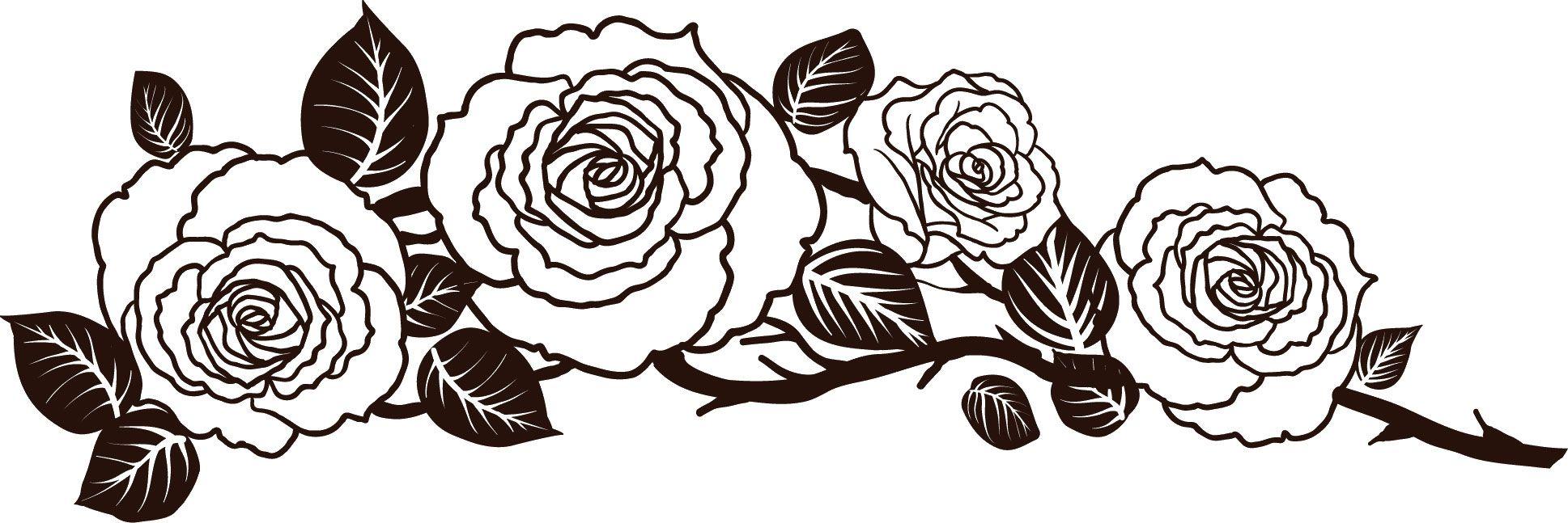 花のライン線イラスト 白黒バラ模様 Strictly Stencils バラ