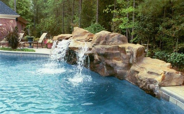 Garten mit pool gestalten  Wasserfall im Garten selber bauen - 99 Ideen, wie Sie die Harmonie ...
