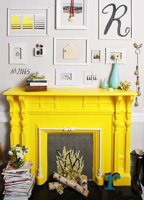 Yellow Fireplace Decor House Interior Home