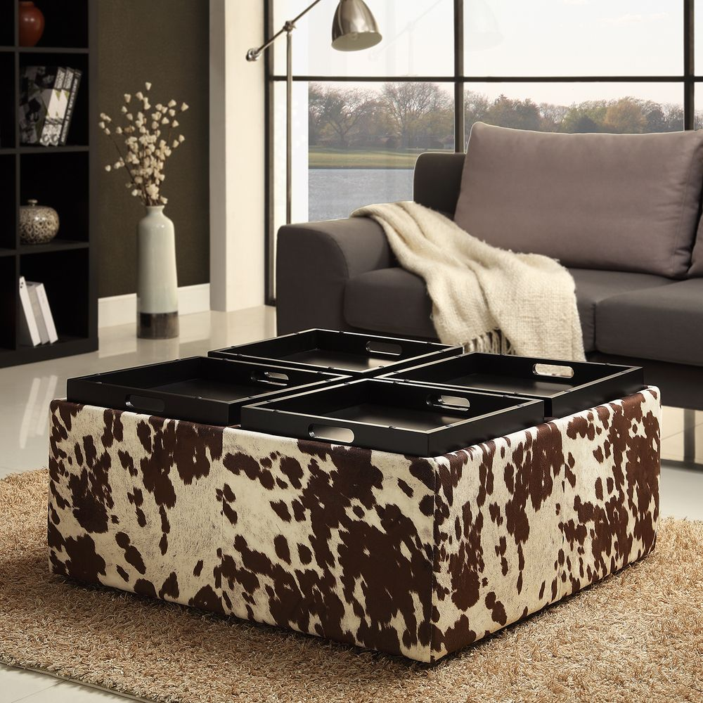 Ottoman In Living Room: Decor Brown White Cow Hide Storage Ottoman By INSPIRE Q