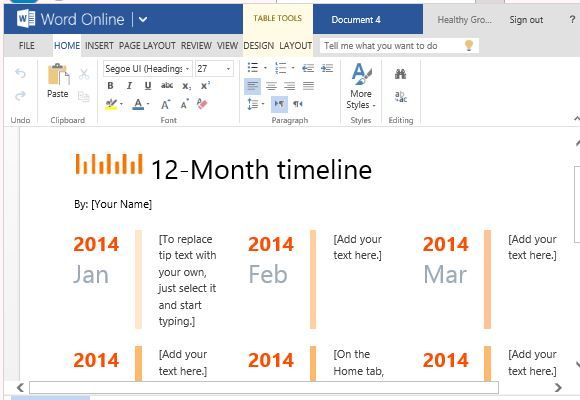 One Year Timeline Maker Template For Word  Word Templates