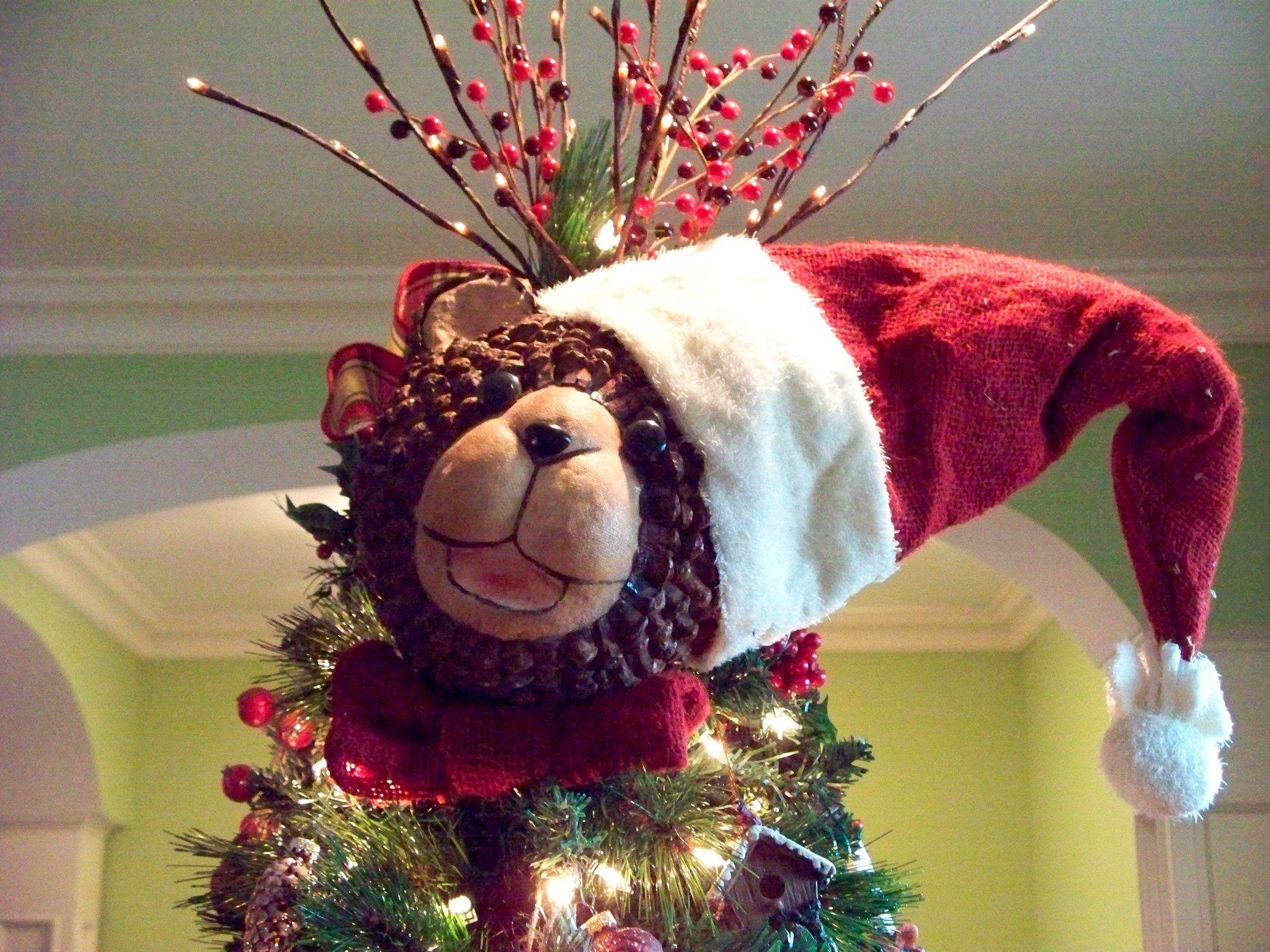 Pinecone teddy bear Christmas tree topper