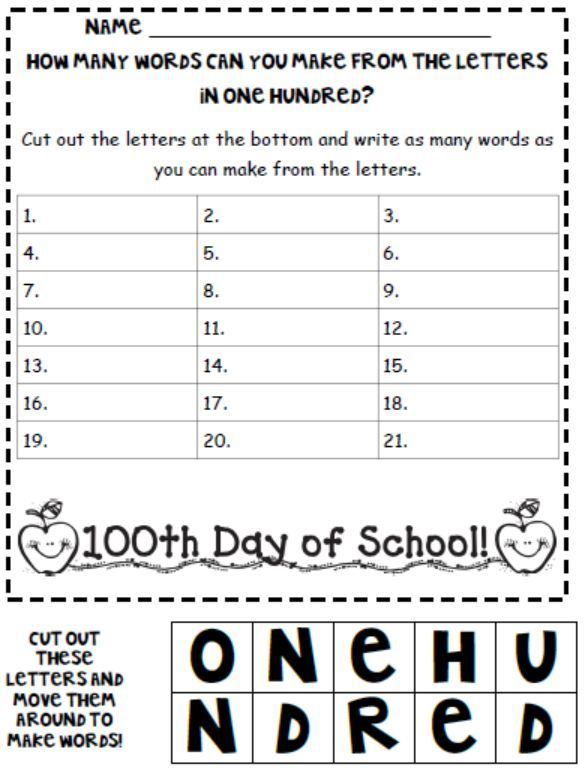 not actually teaching writing but cute writing and spelling activity for 100th day from a day in 1st grade blog