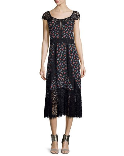 39532e1710 NANETTE LEPORE CAP-SLEEVE FLORAL SILK & LACE MIDI DRESS, BLACK. # nanettelepore #cloth #
