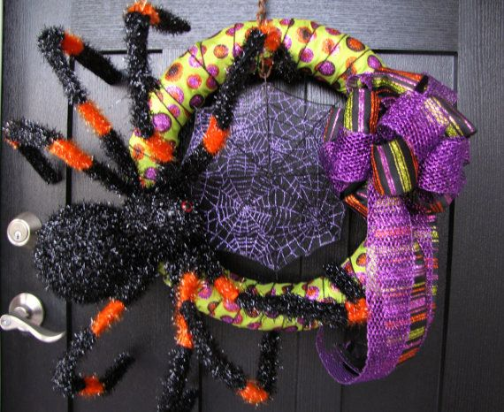 Photo of Giant Spider Ribbon Wreath, Halloween Wreath, Spiderweb Wreath, Handmade Fall Wreath