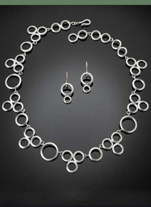 Sterling silver circle necklace and double circle drop earrings