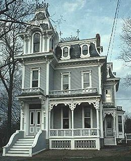 1875 Victorian House Stick Eastlake Structures Include Square Bays Flat Roof Lines Decorative Victorian Homes Exterior Victorian Homes Victorian Style Homes