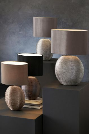 Silver Ceramic Large Table Lamp From Next