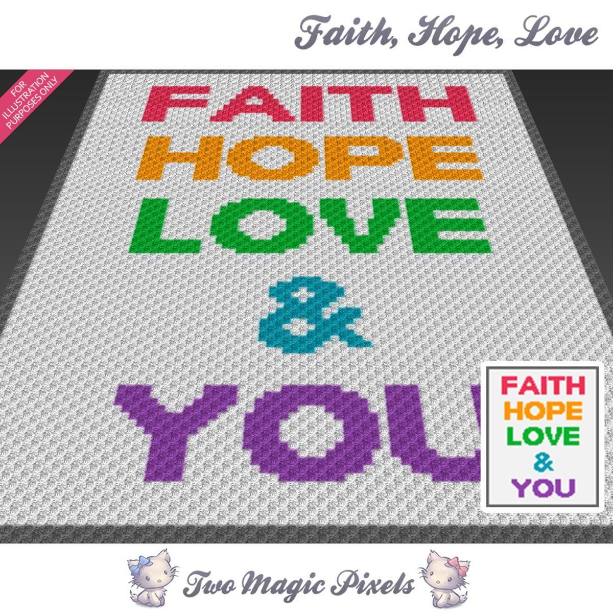 Faith Hope Love C2C Crochet Graph