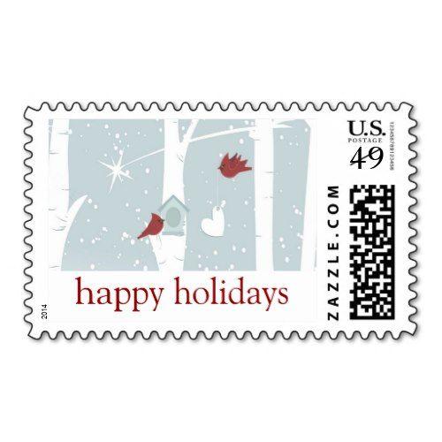 Cute Christmas Stamps Cardinals Birdhouse