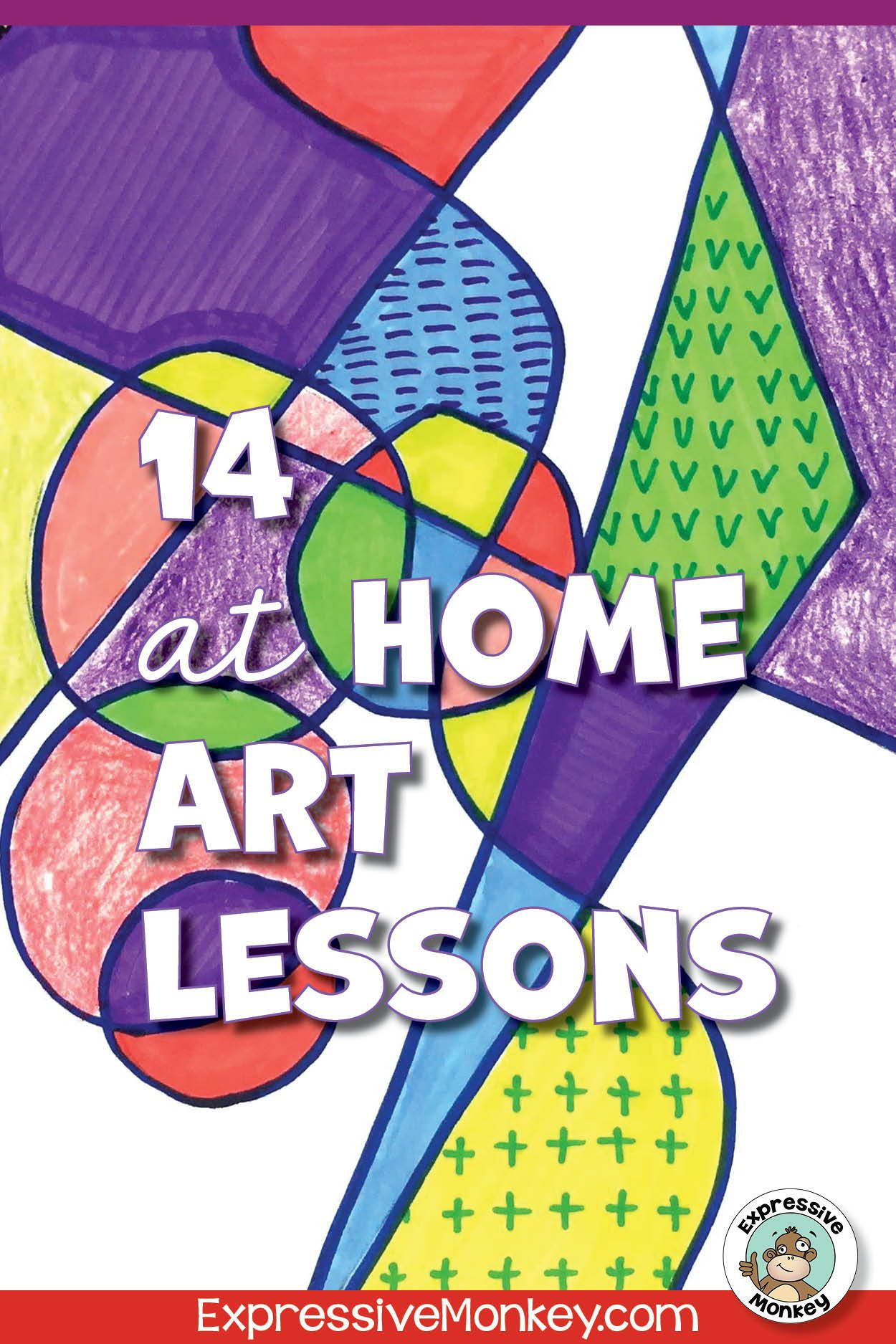 14 Home Art Lessons Distance Learning Packet Art Lessons Easy