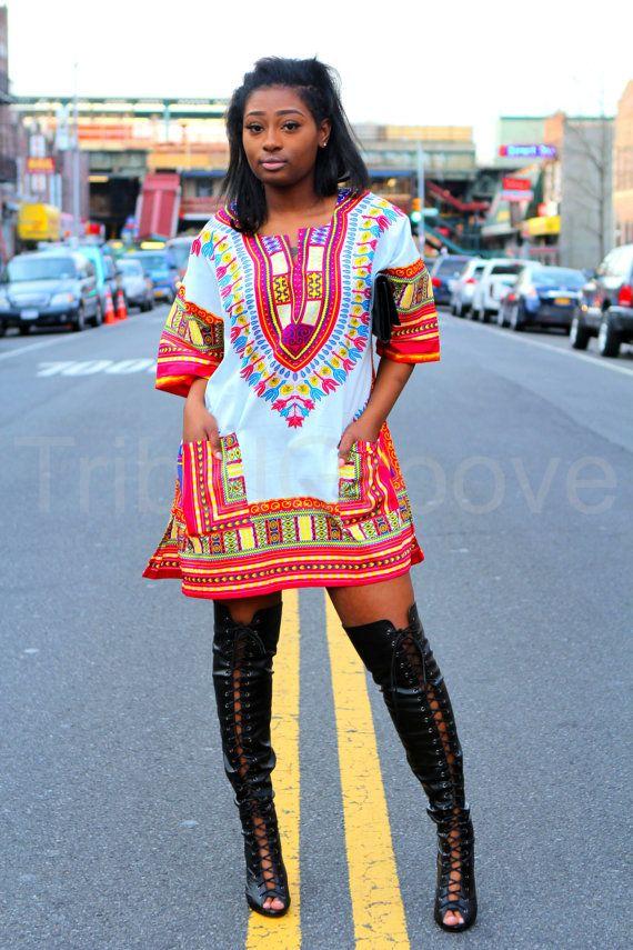 Unisex Dashiki White African Shirt Dress Kings by tribalgroove ...