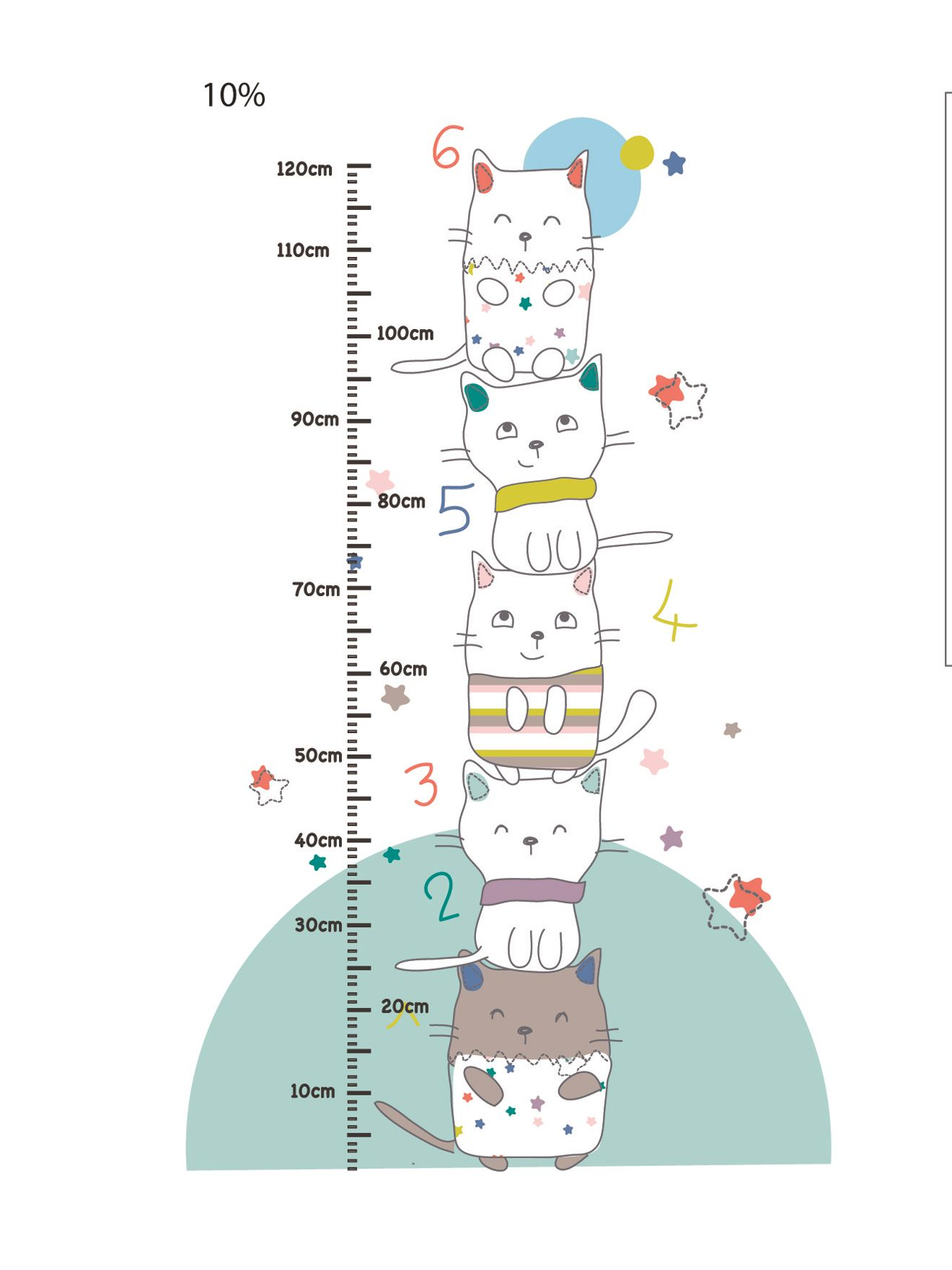 Sticker toise b b th me chat perch chambre b b - Stickers chambre bebe ...
