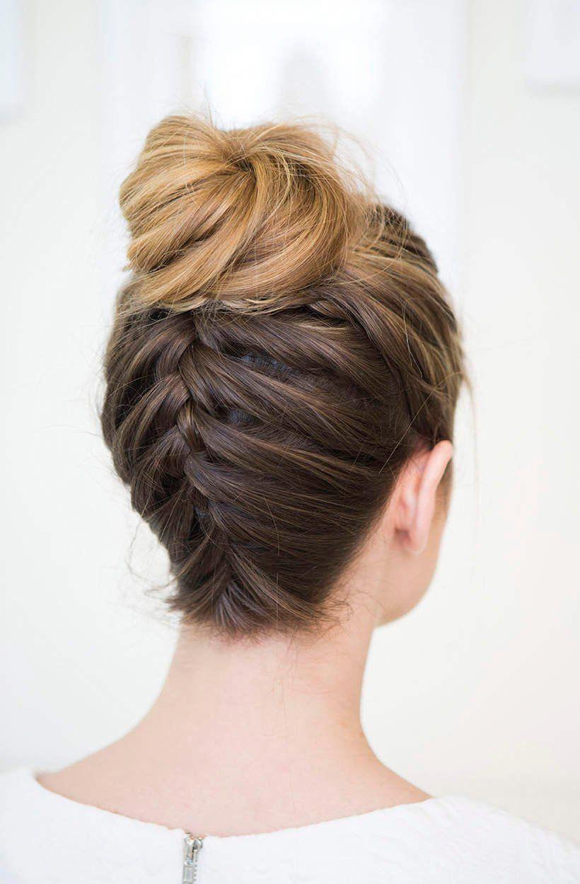 Hairstyle Ideas For Medium Length Hair Upside Down Braided Bun Easy Updo For Experienced Bra Braids Hairstyles Pictures Medium Length Hair Styles Hair Styles