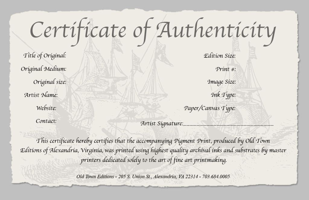 Certificate of authenticity of a fine art print for Artist certificate of authenticity template