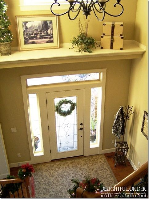 Good Idea Add A Shelf To Split Up Your Large Two Story Foyer Foyer Decorating Ledge Decor Home