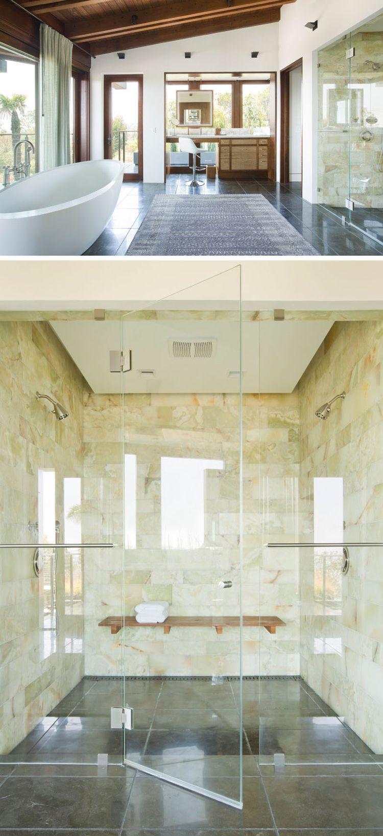 natursteinverkleidung innen badezimmer glaswand freistehende ...