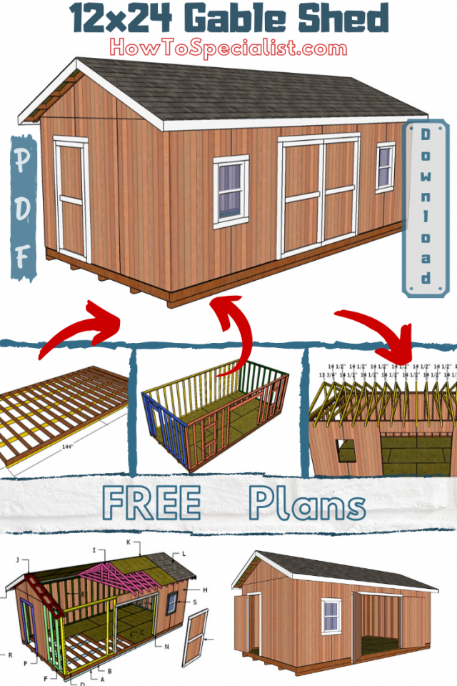 12x24 Shed Plans Free Diy Plans Howtospecialist How To Build Step By Step Diy Plans In 2020 12x24 Shed Diy Storage Shed Plans Shed Plans