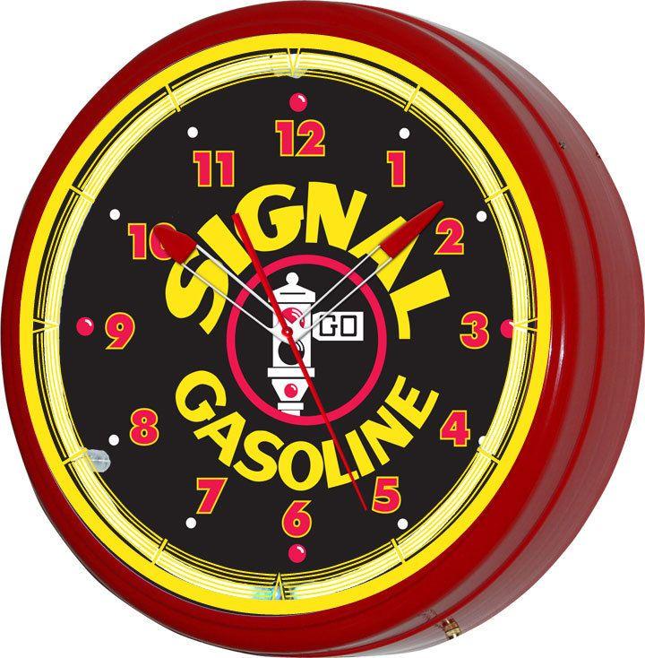 Signal Gasoline Motor Oil 20 Neon Wall Clock Advertising Etsy Garage Art Advertising Signs Custom Clocks