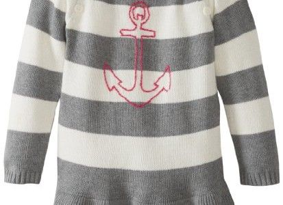Nautica Girls 2-6X Stripe Sweater Dress, Grey Heather, 3T Large