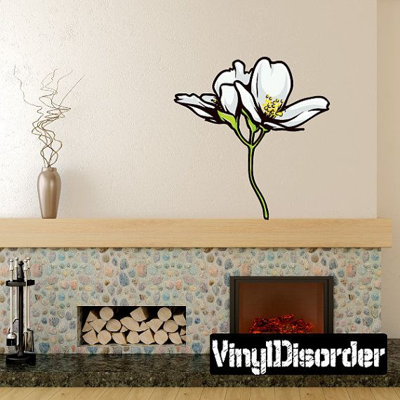 Floral flower wall decal wall fabric vinyl decal removable and reusable floralfloweruscolor065et