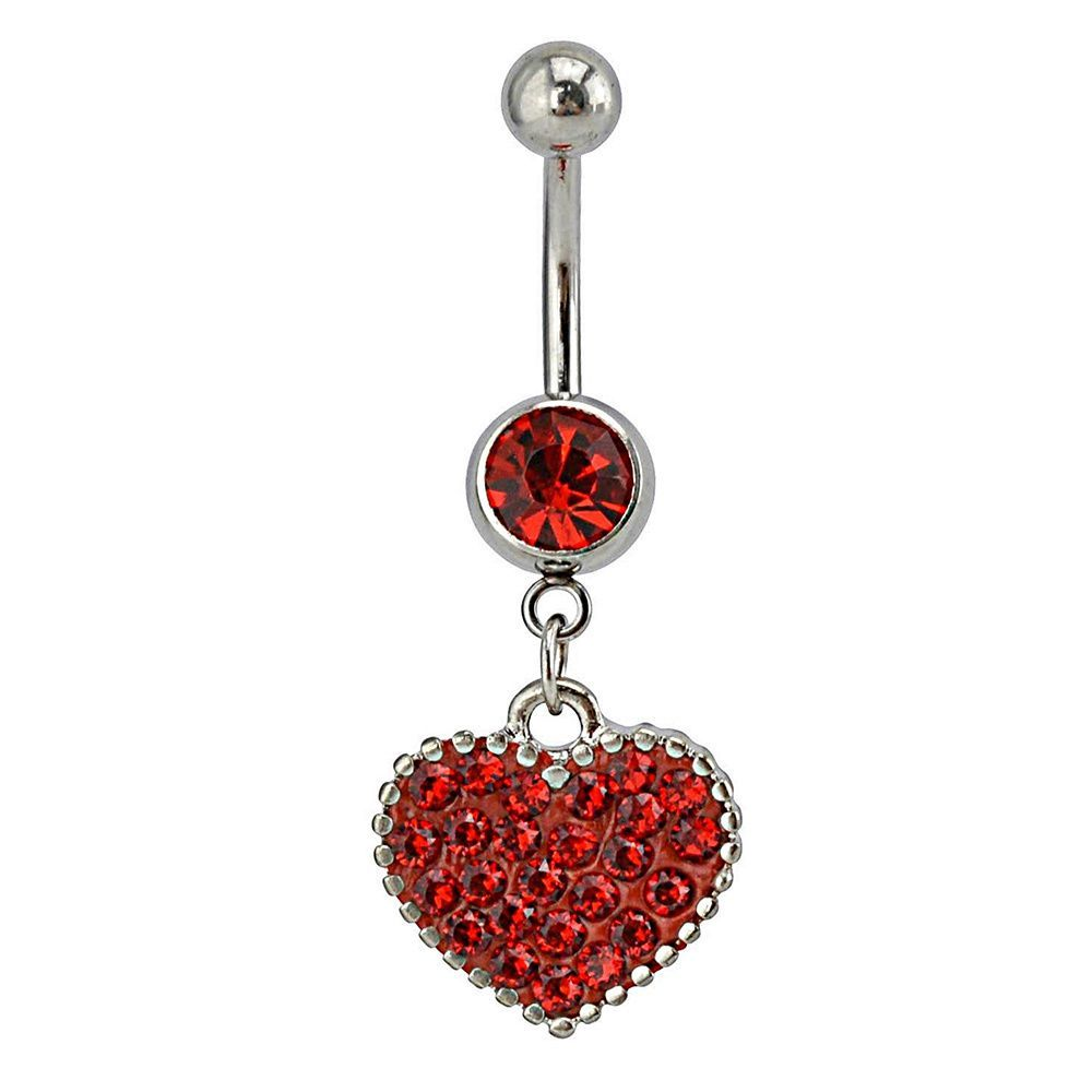 Supreme Jewelry Surgical Steel Austrian Crystal Heart Belly Ring ...