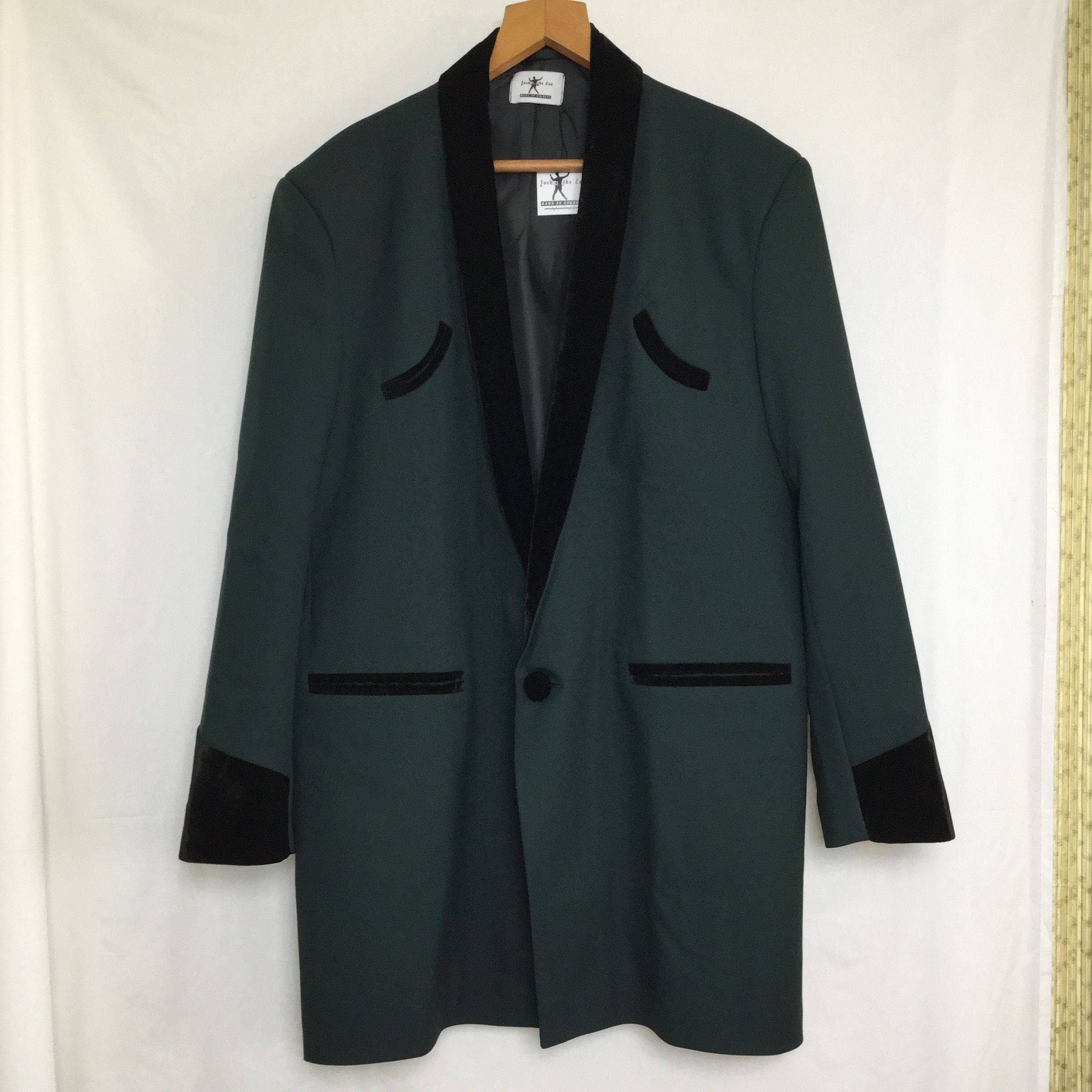 56d126f9b61d Traditional Teddy Boy Drape Jacket, dark green with black velvet collar. «