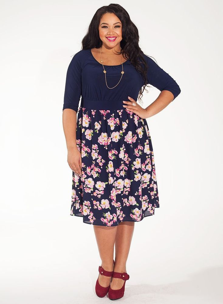 Igigi Dress Plus Size 2x 18 20 Blue Floral Brittany Style Office