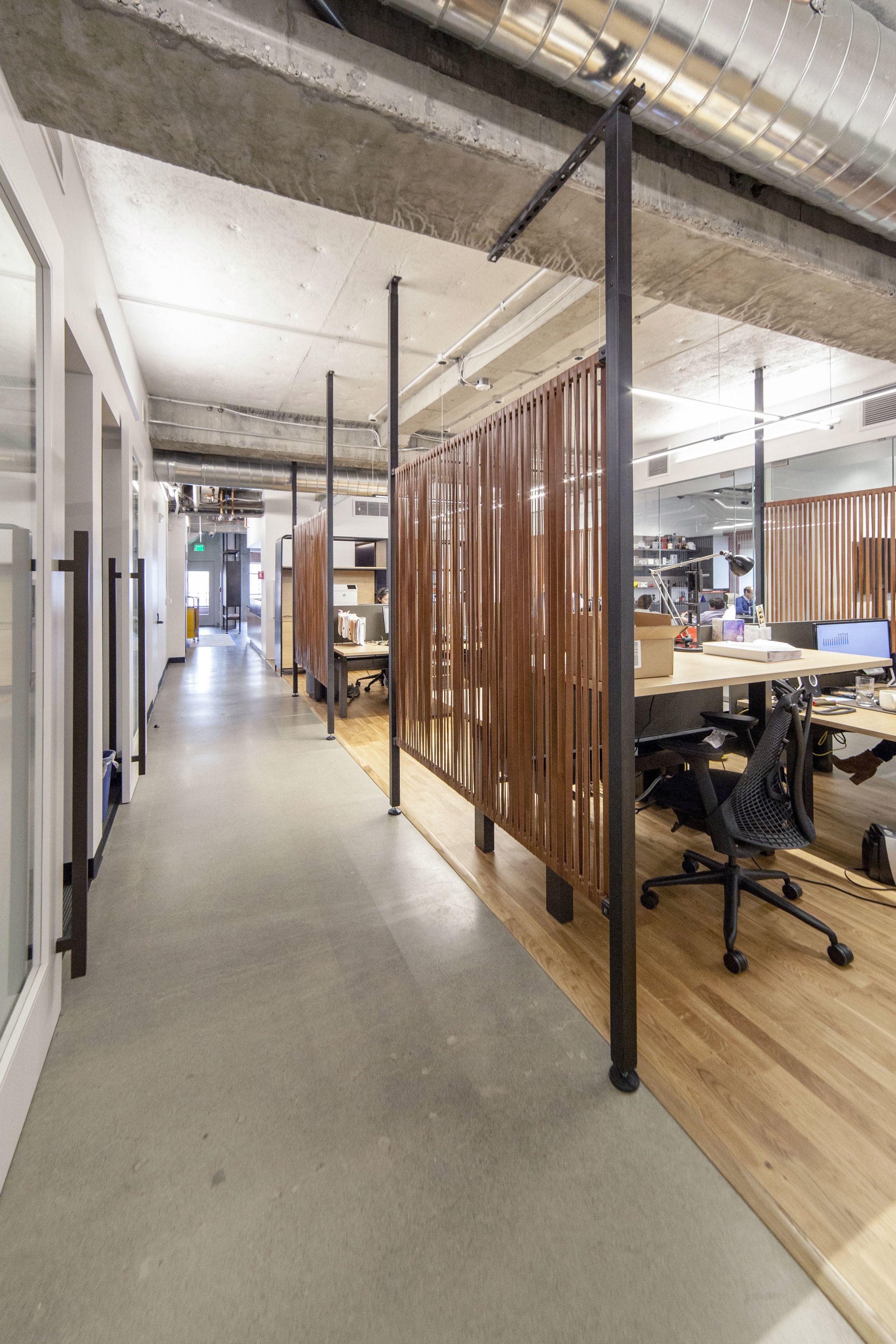 Leather strap divider walls by Synecdoche Design Studio for Rapt Studio