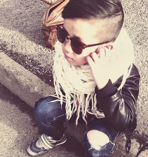 Little boy style #Scarf #jeans #leather jacket #kid fashion