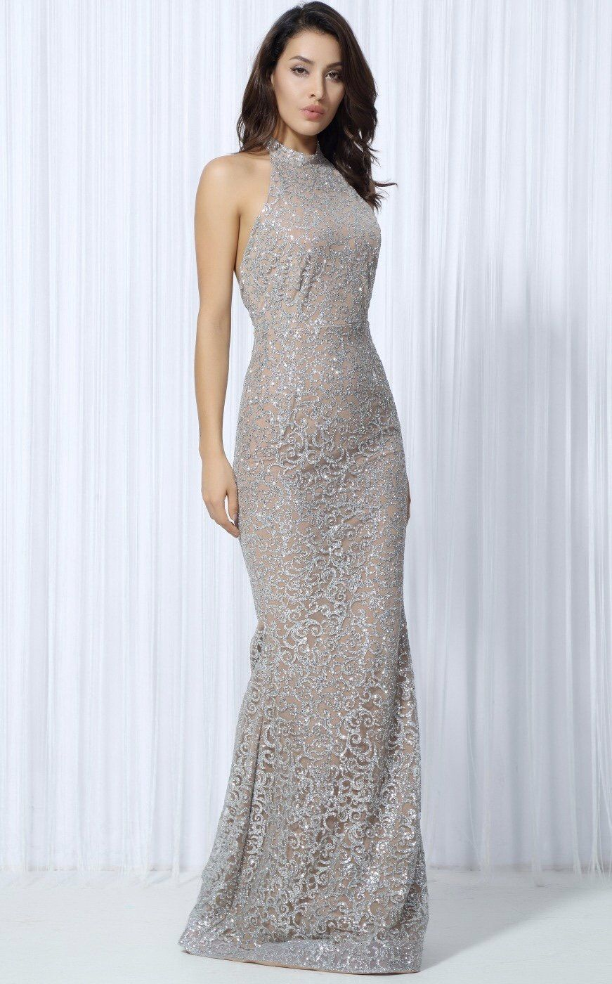 d1f6420835a38 Floral Embroidery · Girls! This beaut evening dress really is a show  stopper! This super luxe silver