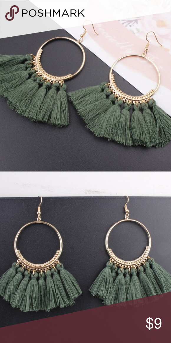 437bd9129 Vintage Fringe Tassel Earrings Chandelier Green A chic bohemian look to  welcome the start of the season! The gold circular dangle is expertly  combined with ...