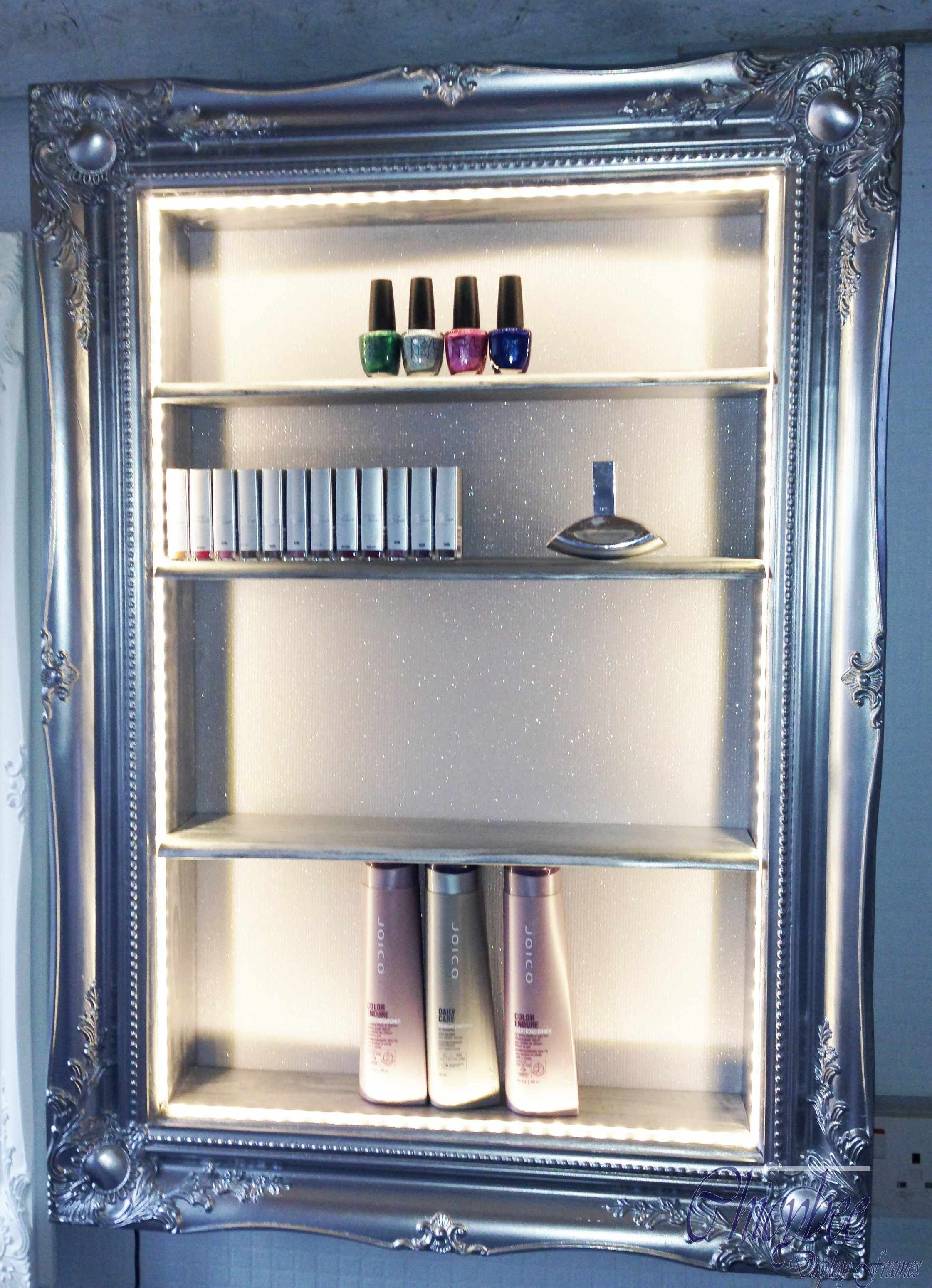 Beauty Display Cabinet Led Illuminated Silver Chrome