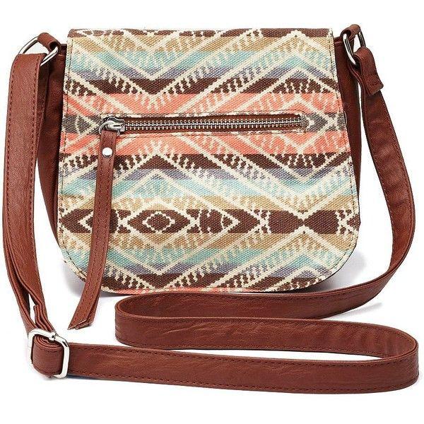 Charlotte Russe Tribal Top Flap Cross-Body Purse (59 BRL) ❤ liked on Polyvore featuring bags, handbags, shoulder bags, purses, bolsas, accessories, cognac, brown crossbody purse, purse crossbody and crossbody purses