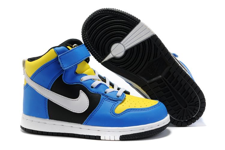 Kids Nike Dunk High Top Top Blue Yellow White Shoes