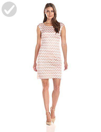 56c2472b4d0 Connected Apparel Women s Cap Sleeve A Line Chevron Lace Dress ...