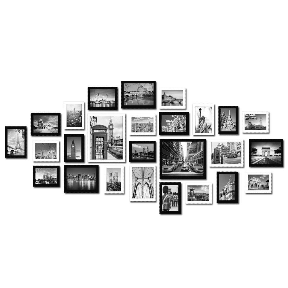 Large multi picture photo frames wall set 26 pieces set white and large multi picture photo frames wall set 26 pieces set white and black jeuxipadfo Images